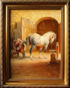 Коваль с булонской лошадью